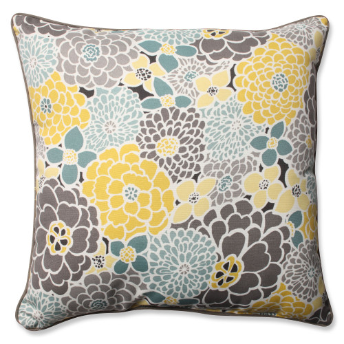 """25"""" Blue Floral UV/Fade Resistant Outdoor Patio Square Throw Pillow - IMAGE 1"""