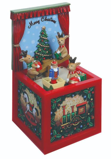 "Set of 2 Musical Reindeer Seesaw Blocks Table Top Decor 7.4"" - IMAGE 1"