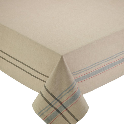 """104"""" Beige White Natural French Striped Dining Tablecloth - IMAGE 1"""