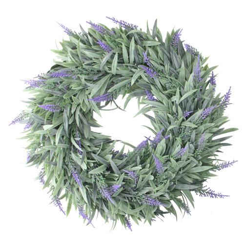"14"" Artificial Dusty Purple Springtime Wispy Lavender Wreath - IMAGE 1"