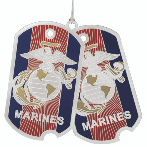 """3"""" Red, Blue and Silver Marine Corps Dog Tags Christmas Ornament - IMAGE 1"""