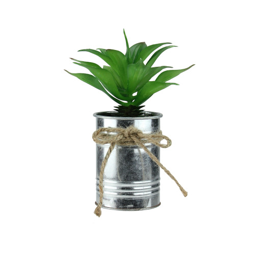 """7"""" Green and Silver Tropical Artificial Foliage in Tin Planter - IMAGE 1"""