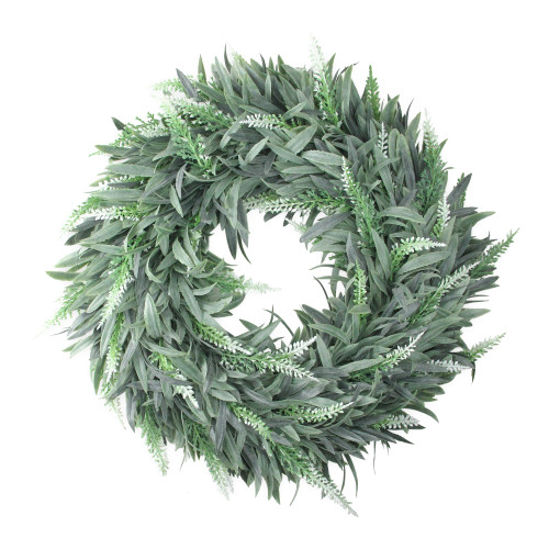 "14"" Dusty White Artificial Springtime Wispy Lavender Wreath - IMAGE 1"