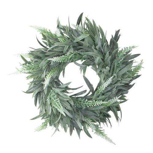"10"" Artificial Dusty White Decorative Springtime Wispy Lavender Wreath - IMAGE 1"