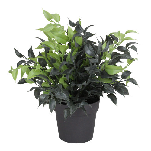 """9.5"""" Green and Brown Potted Artificial Spring Foliage - IMAGE 1"""