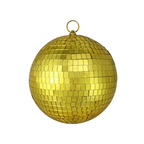 "Mirrored Gold Glass Christmas Disco Ball Ornament 8"" (200mm) - IMAGE 1"