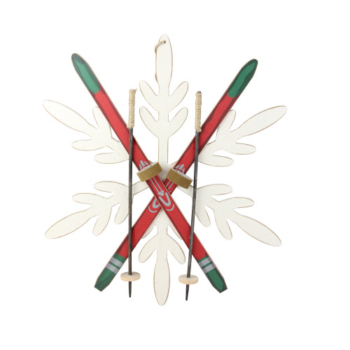 """16"""" Festive Red and Green Snowflake and Ski Decorative Hanging Wall Art - IMAGE 1"""