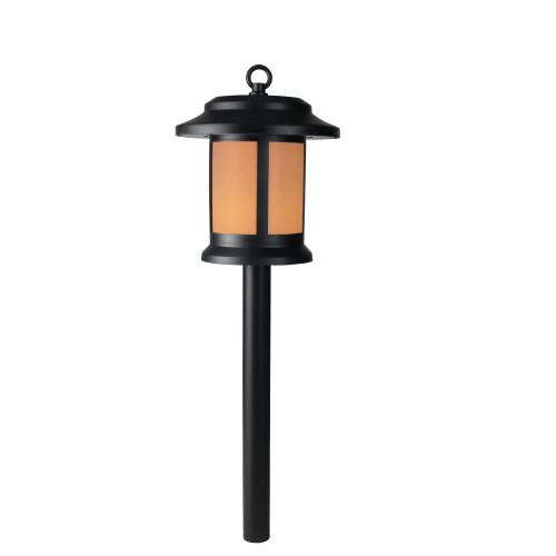 "19"" Black and White LED Round Lantern Style Solar Powered Lighted Pathway Marker - IMAGE 1"