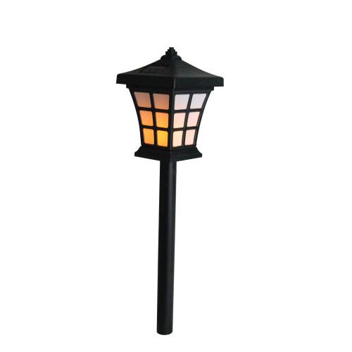 "19"" Black and White LED Lantern Style Solar Powered Lighted Pathway Marker - IMAGE 1"