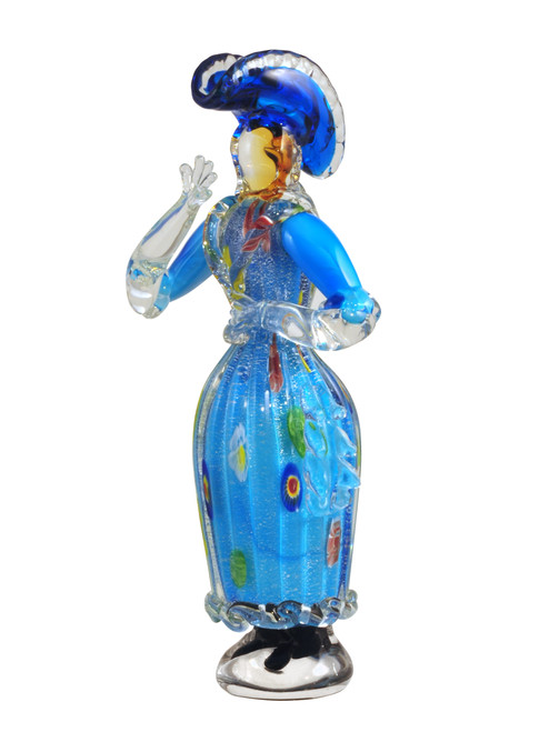 """13.5"""" Blue and Clear Arciala Handcrafted Art Glass Figurine - IMAGE 1"""