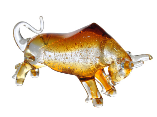 """11"""" Gold and Clear Brody the Bull Hand Blown Art Glass Figurine - IMAGE 1"""