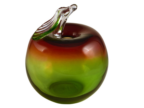 "8.5"" Green and Red Contemporary Apple Sculpture - IMAGE 1"