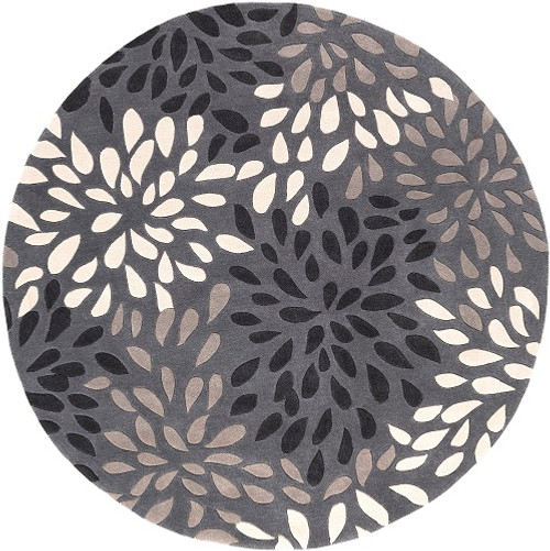 8' Contemporary White and Gray Hand Tufted Round Area Throw Rug - IMAGE 1