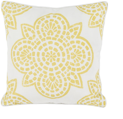 """16"""" Yellow and White Contemporary Digitally Printed Square Outdoor Throw Pillow - IMAGE 1"""