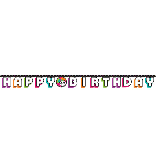 """Club Pack of 12 Vibrantly Colored Panda Monium """"Happy Birthday"""" Jointed Banner 10.5"""" - IMAGE 1"""