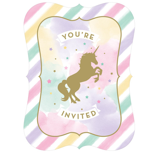 "Club Pack of 48 White and Pink Unicorn Sparkle 'You're Invited' Party Invitations 6"" - IMAGE 1"
