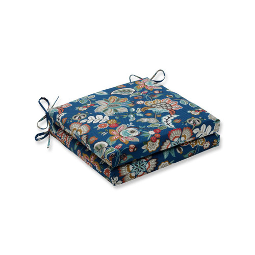 """Set of 2 Blue Floral UV/Fade Resistant Outdoor Patio Square Corner Seat Cushion with Ties 20"""" - IMAGE 1"""