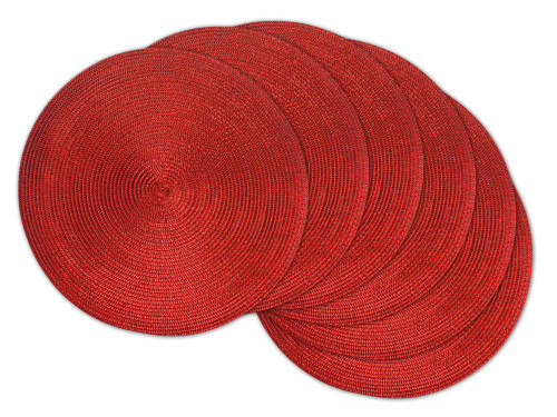 """Set of 6 Metallic Red Contemporary Spherical Placemats 14.75"""" - IMAGE 1"""