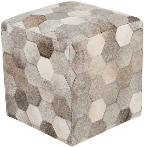 """18"""" Bear Brown and Gray Leather Indoor Square Pouf Ottoman with Knife Edge - IMAGE 1"""