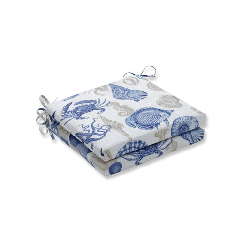 "Set of 2 Blue Nautical Motif Square Outdoor Patio Corner Seat Cushion with Ties 20"" - IMAGE 1"
