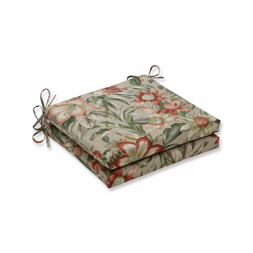 "Set of 2 Green Tropical Motif Square Outdoor Patio Corner Seat Cushion with Ties 20"" - IMAGE 1"