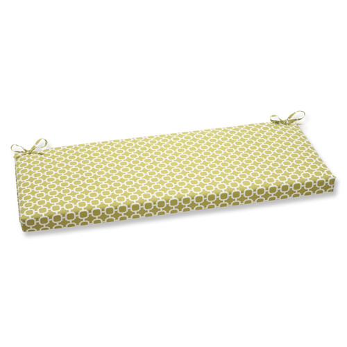 """45"""" Green and White Geometric Outdoor Rectangular Bench Cushion - IMAGE 1"""