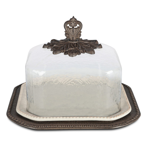 """17"""" Cream and Bronze Square Pastry Keeper with Acanthus Leaf Metal Base - IMAGE 1"""