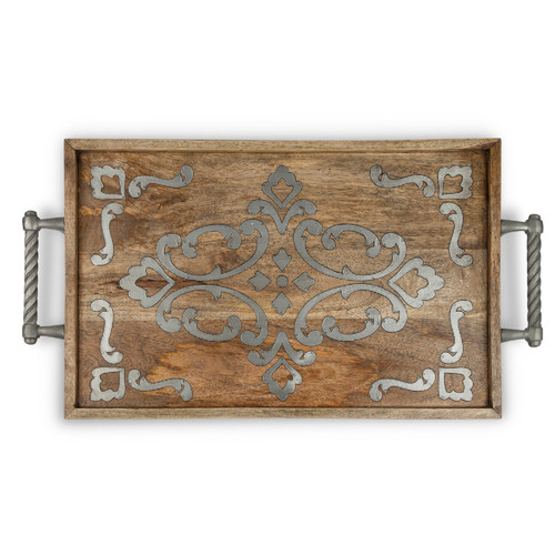 """27.5"""" Brown and Silver Wooden Floral Pattern Rectangular Tray - IMAGE 1"""