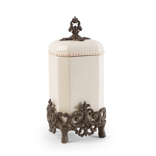 """15"""" Cream and Bronze Provencial Canister with Fleur De Lis Metal Base - IMAGE 1"""