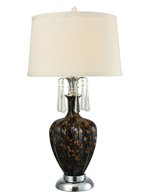 """31"""" White and Brown LED Accent Table Lamp - IMAGE 1"""
