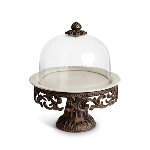 """16"""" Clear and Bronze Round Cake Pedestal with Acanthus Leaf Metal Base - IMAGE 1"""