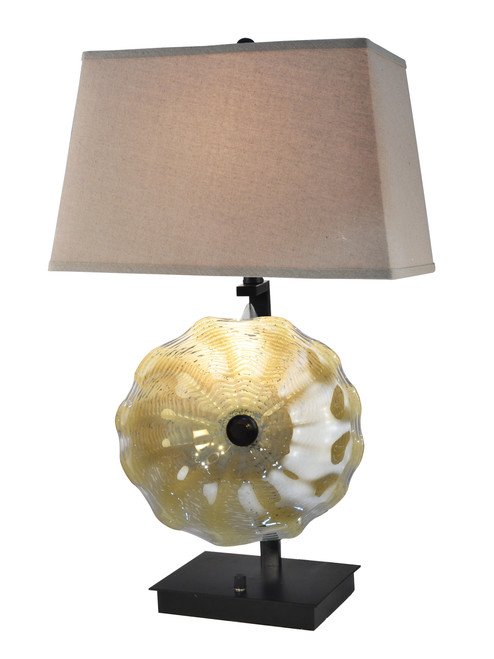 """28.5"""" Beige and Brown Contemporary Art Accent Table Lamp - IMAGE 1"""