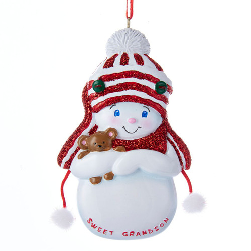 """Club Pack of 12 Vibrantly Colored Decorative """"Sweet Grandson"""" Signed Snow-Boy Ornaments 4"""" - IMAGE 1"""