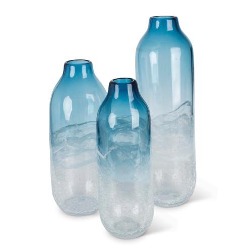 """Set of 3 Indigo Blue and White Artisanal Tall Decorative Vases 17.5"""" - IMAGE 1"""
