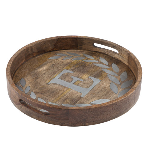 """20"""" Brown and Gray Letter """"E"""" Printed Round Decorative Tray - IMAGE 1"""