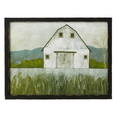 "Set of 2 White and Green Pastoral Barn Rectangular Wall Decors with Frame 20"" - IMAGE 1"