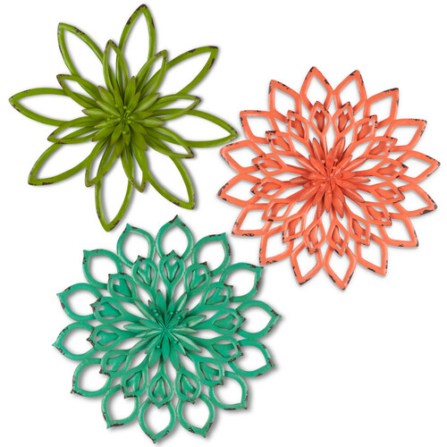 """Set of 3 Orange and Green Distressed Flower Themed Wall Art 20"""" - IMAGE 1"""