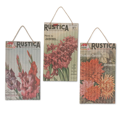 """Set of 3 Orange and Green Decorative Seed Packet Wall Art with Hanger 32.13"""" - IMAGE 1"""