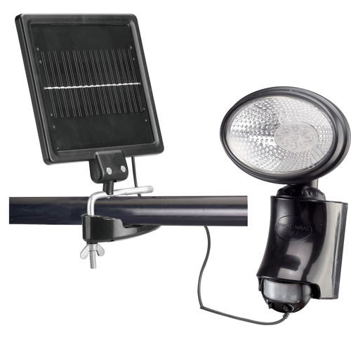"""Set of 2 Black and Clear Solar Powered Motion Sensor Security Lights 10"""" - IMAGE 1"""