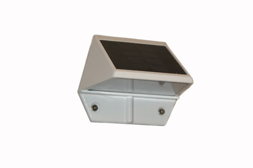 Set of 2 White Aluminum Solar Powered Deck and Wall Lights - IMAGE 1