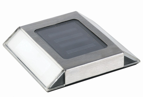 Set of 2 Silver and Clear Solar Powered Pathway Lights - IMAGE 1
