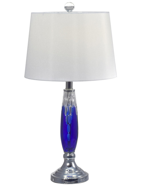 """25.5"""" Blue and Silver Colored Contemporary Pattern Table Lamp with Drum - IMAGE 1"""