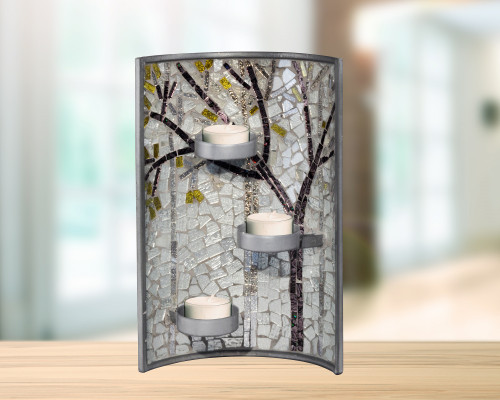 """11"""" Gray and Brown Glossy Finished Decorative Fall Mosaic Candle Holder - IMAGE 1"""