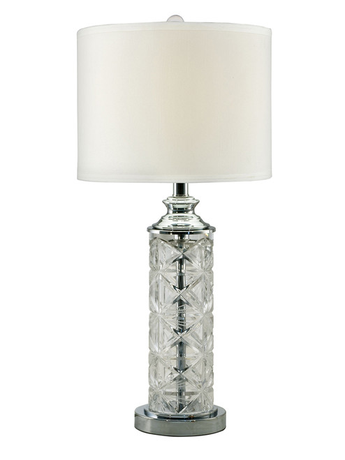 """26"""" Clear and White Hand Cut Crystal Decorative Table Lamp with Round Base - IMAGE 1"""