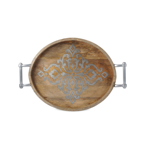 """25.5"""" Brown and Silver Wooden Large Oval Tray - IMAGE 1"""
