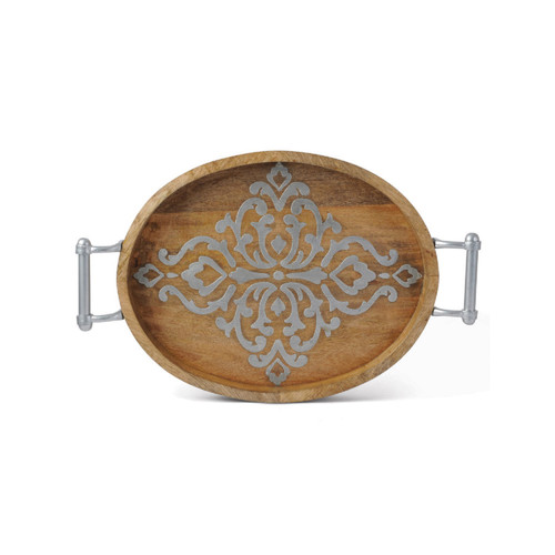 """20.75"""" Brown and Gray Wooden Oval Serving Tray - IMAGE 1"""