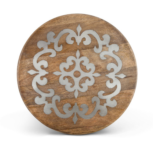 """18"""" Brown and Gray Wooden Inlay Round Lazy Susan - IMAGE 1"""