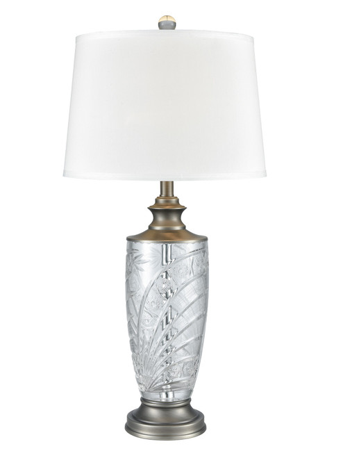 """30.25"""" Clear and Copper Colored Glossy Finish Hand-Cut Decorative Table Lamp - IMAGE 1"""