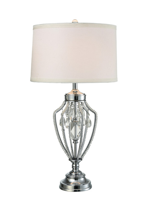 31 Crystal Polished Chrome Table Lamp With White Round Drum Shade Christmas Central