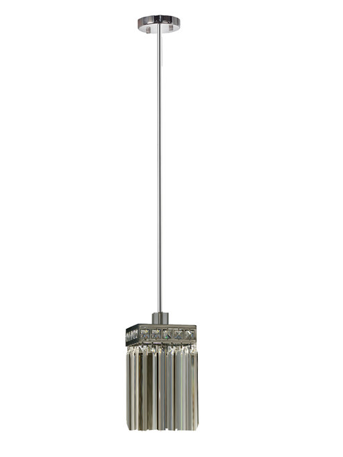 """60"""" Elongated Crystal Spikes Pendant with Square Polished Chrome Shade - IMAGE 1"""